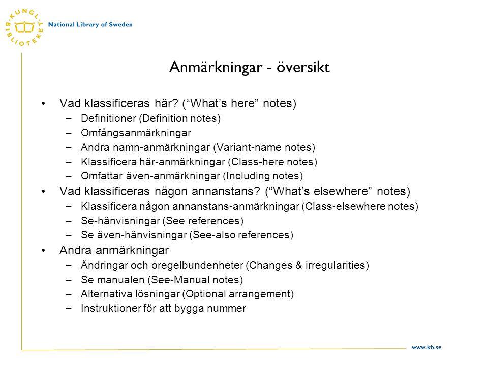 """www.kb.se Anmärkningar - översikt Vad klassificeras här? (""""What's here"""" notes) –Definitioner (Definition notes) –Omfångsanmärkningar –Andra namn-anmär"""