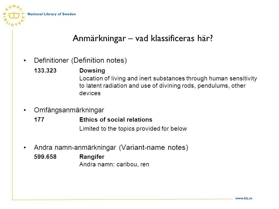 www.kb.se Anmärkningar – vad klassificeras här? Definitioner ( Definition notes) 133.323Dowsing Location of living and inert substances through human