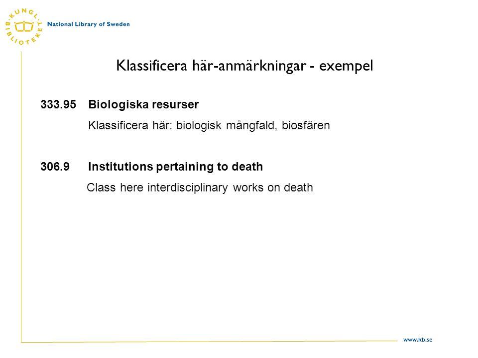 www.kb.se Klassificera här-anmärkningar - exempel 333.95Biologiska resurser Klassificera här: biologisk mångfald, biosfären 306.9 Institutions pertaining to death Class here interdisciplinary works on death