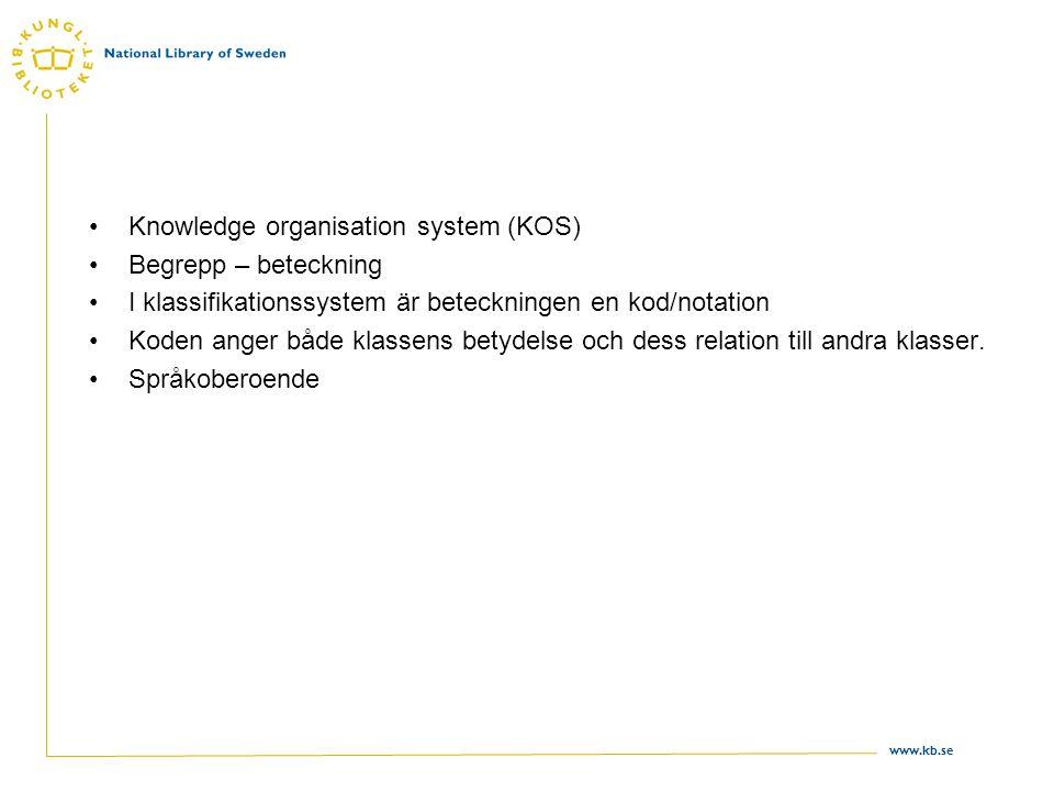 www.kb.se Knowledge organisation system (KOS) Begrepp – beteckning I klassifikationssystem är beteckningen en kod/notation Koden anger både klassens b