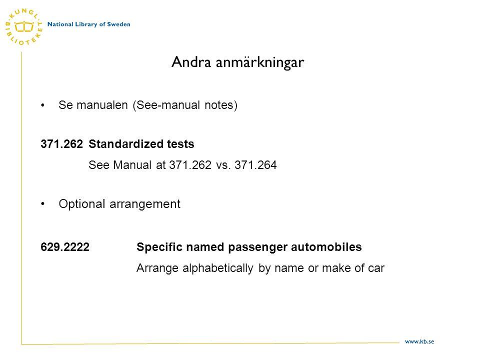 www.kb.se Andra anmärkningar Se manualen (See-manual notes) 371.262Standardized tests See Manual at 371.262 vs. 371.264 Optional arrangement 629.2222S