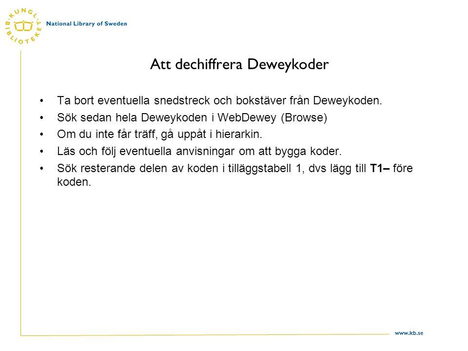 www.kb.se Att dechiffrera Deweykoder Ta bort eventuella snedstreck och bokstäver från Deweykoden. Sök sedan hela Deweykoden i WebDewey (Browse) Om du