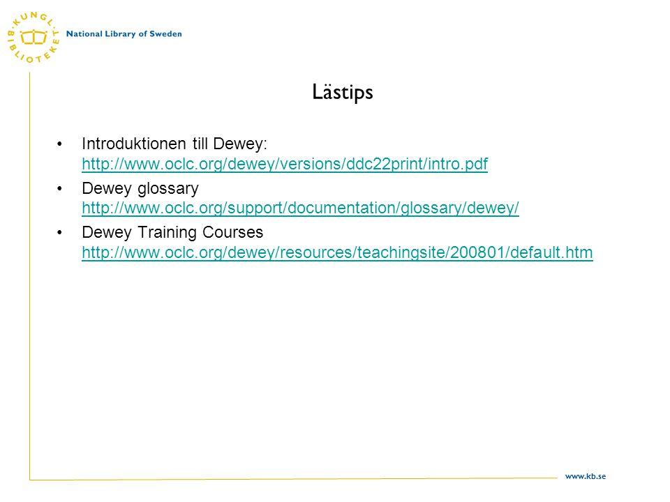www.kb.se Lästips Introduktionen till Dewey: http://www.oclc.org/dewey/versions/ddc22print/intro.pdf http://www.oclc.org/dewey/versions/ddc22print/int