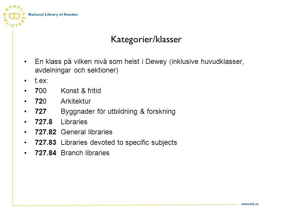 www.kb.se Kategorier/klasser En klass på vilken nivå som helst i Dewey (inklusive huvudklasser, avdelningar och sektioner) t.ex: 700 Konst & fritid 72