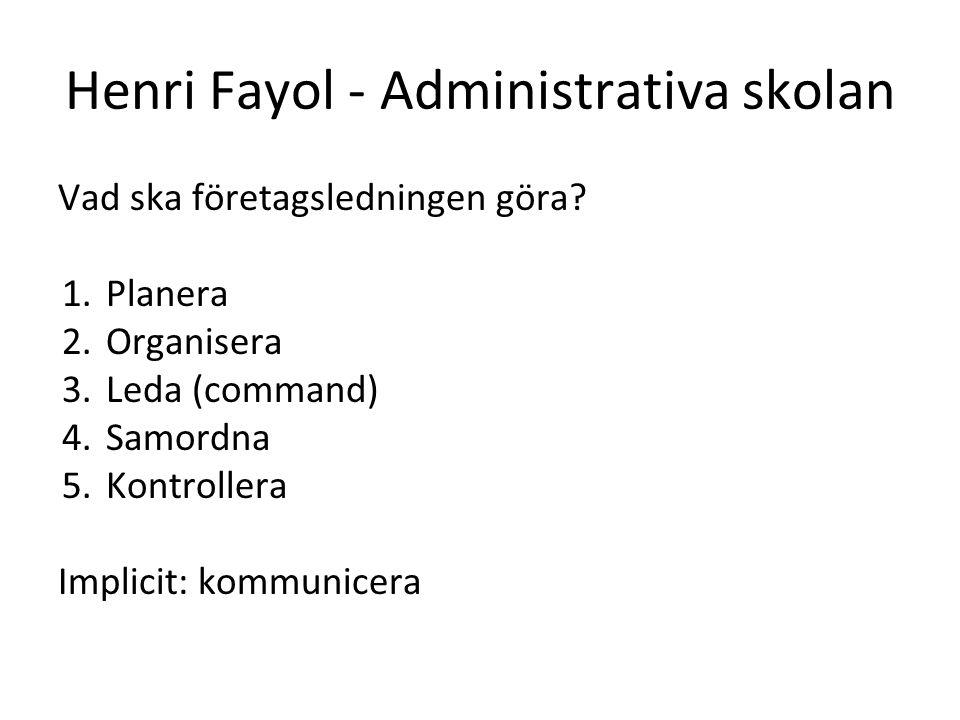 Henri Fayol - Administrativa skolan Vad ska företagsledningen göra? 1.Planera 2.Organisera 3.Leda (command) 4.Samordna 5.Kontrollera Implicit: kommuni