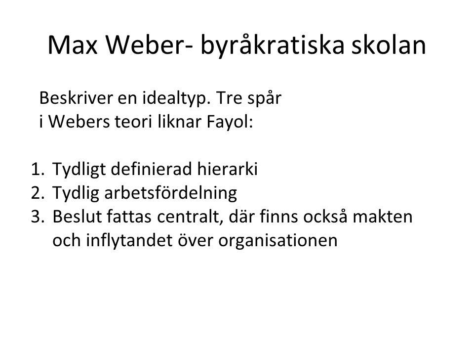 Max Weber- byråkratiska skolan Tre aspekter som skiljer ut Webers syn på den ideala organisationen 1.Låter inte omvärlden distrahera 2.Regler är viktiga, de ska skrivas ned 3.Auktoritet tilldelas främst av rationella skäl, och knyts till funktion inte person Klimatet i en byråkratisk organisation är formellt.