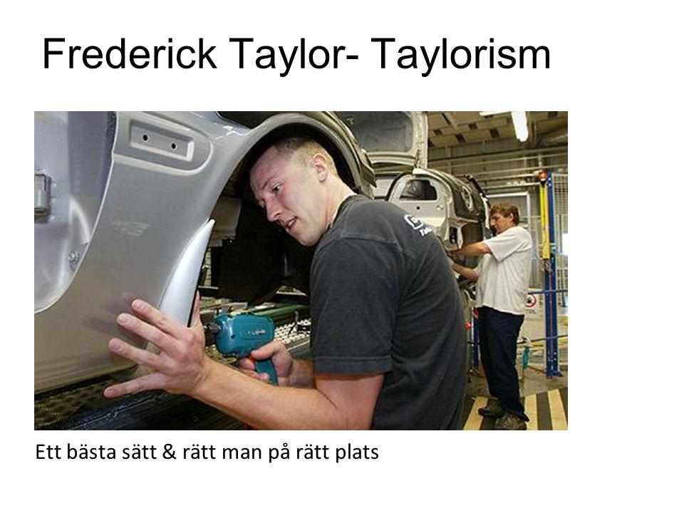 Frederick Taylor- Taylorism Ett bästa sätt & rätt man på rätt plats