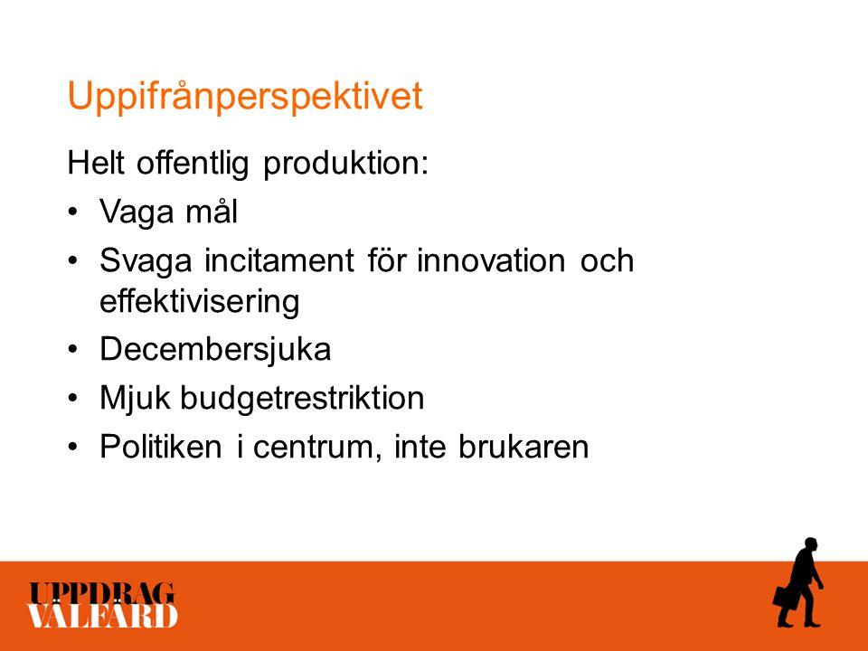 Uppifrånperspektivet Helt offentlig produktion: Vaga mål Svaga incitament för innovation och effektivisering Decembersjuka Mjuk budgetrestriktion Poli