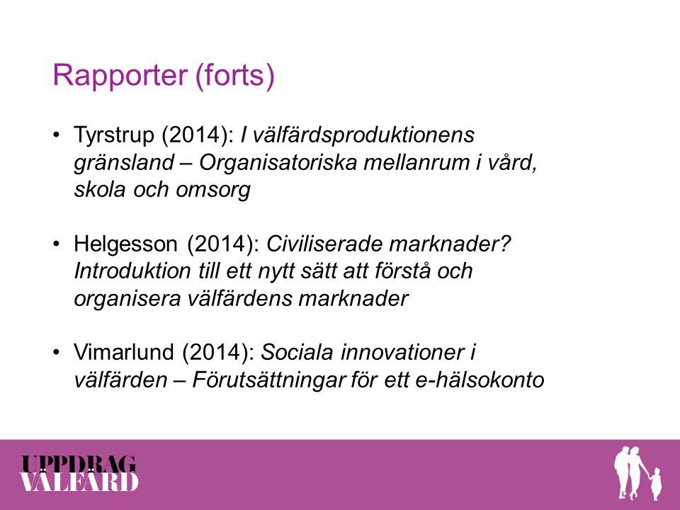 Rapporter (forts) Tyrstrup (2014): I välfärdsproduktionens gränsland – Organisatoriska mellanrum i vård, skola och omsorg Helgesson (2014): Civilisera