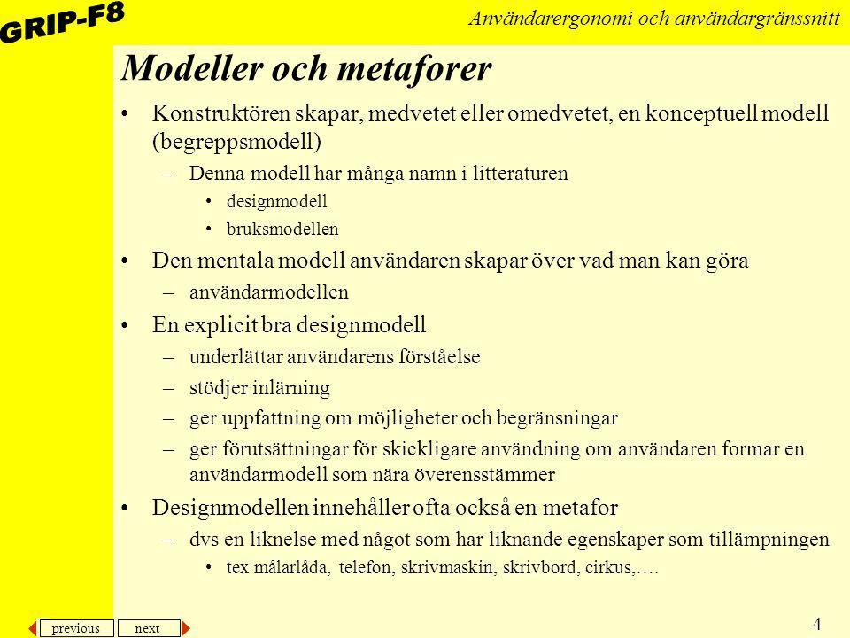 previous next 4 Användarergonomi och användargränssnitt Modeller och metaforer Konstruktören skapar, medvetet eller omedvetet, en konceptuell modell (