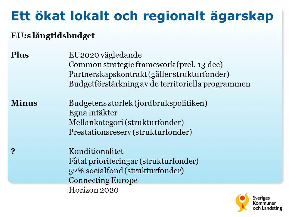 Ett ökat lokalt och regionalt ägarskap EU:s långtidsbudget PlusEU2020 vägledande Common strategic framework (prel. 13 dec) Partnerskapskontrakt (gälle