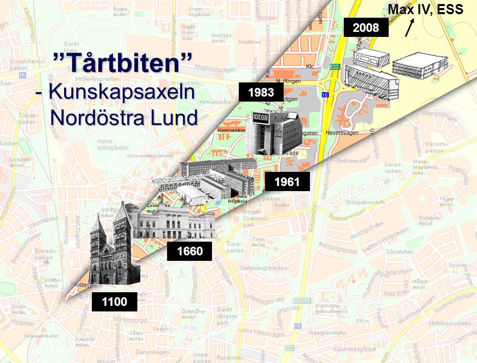 """Lunds universitet / Presentation 2010 """"Tårtbiten"""" - Kunskapsaxeln Nordöstra Lund """"Tårtbiten"""" - Kunskapsaxeln Nordöstra Lund 1100 1660 1983 2008 1961 M"""