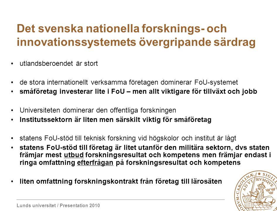 Lunds universitet / Presentation 2010 Det svenska nationella forsknings- och innovationssystemets övergripande särdrag utlandsberoendet är stort de st