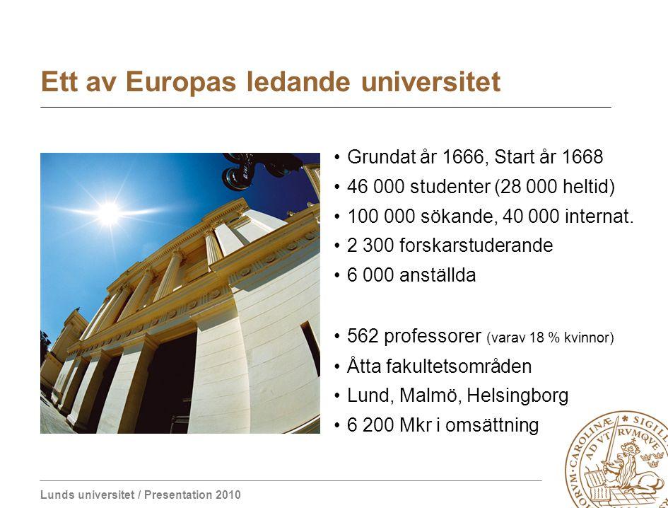 Lund University / Presentation 2010 L U N D S U N I V E R S I T E T AD UTRUMQVE – Beredd till bådadera Ett välkomnande universitet Verksamhet 2009: ca 6 miljarder SEK ca 1/3 utbildning och 2/3 forskning Sveriges starkaste forskningsuniversitet Forskning – Utbildning - Innovation