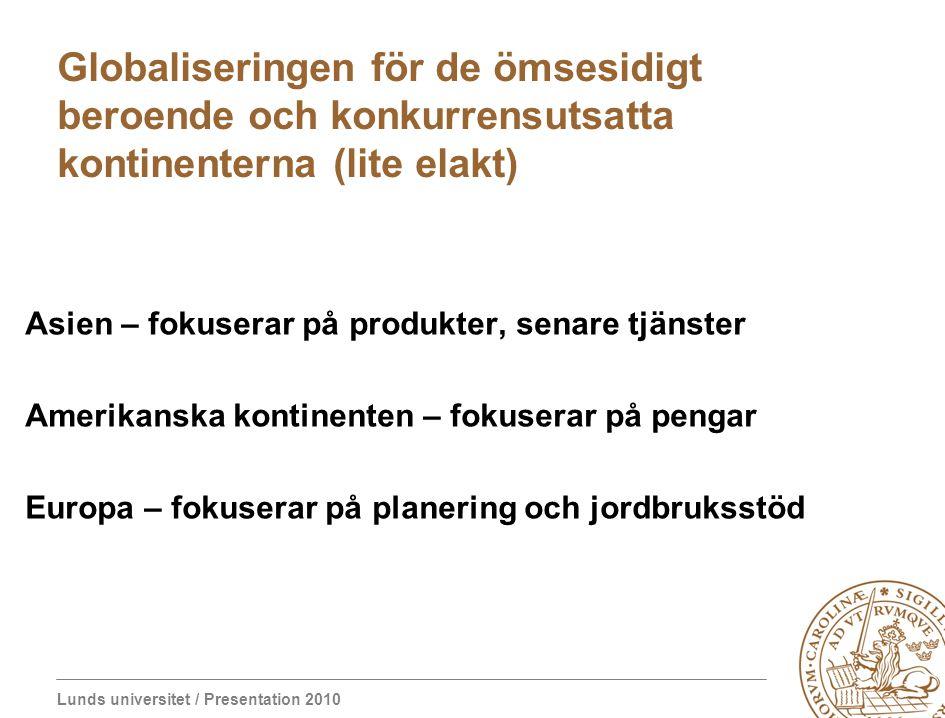 Lunds universitet / Presentation 2010 Globaliseringen för de ömsesidigt beroende och konkurrensutsatta kontinenterna (lite elakt) Asien – fokuserar på