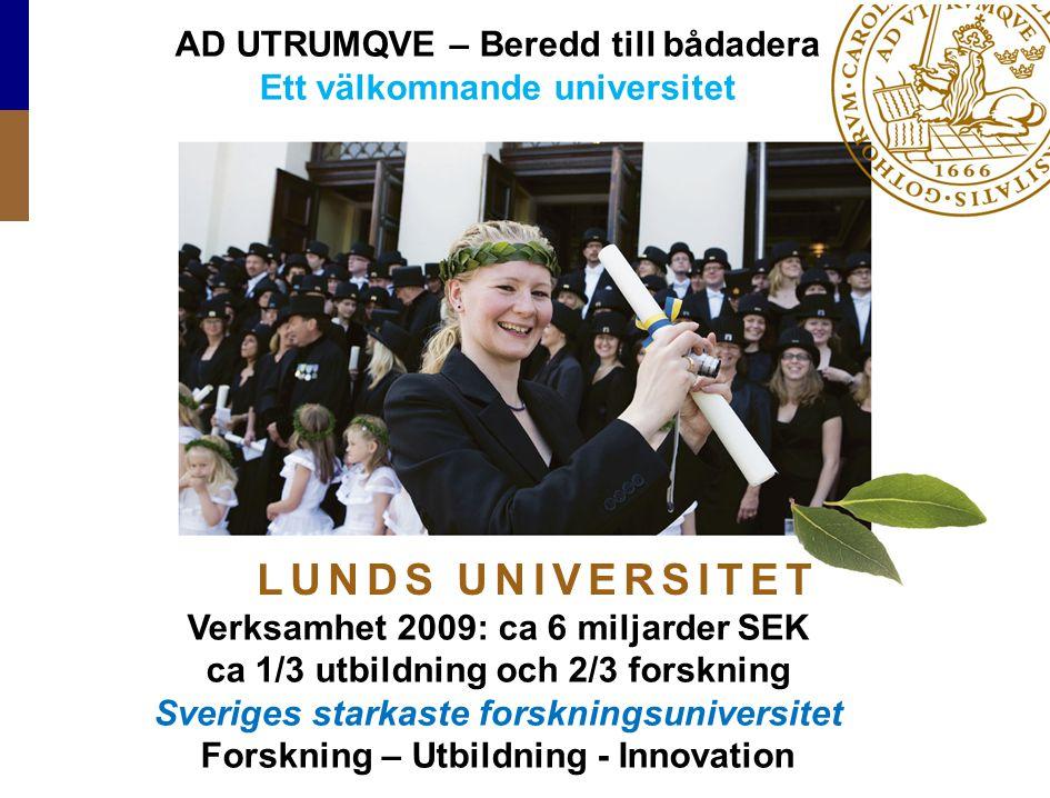 Lund University / Presentation 2010 L U N D S U N I V E R S I T E T AD UTRUMQVE – Beredd till bådadera Ett välkomnande universitet Verksamhet 2009: ca
