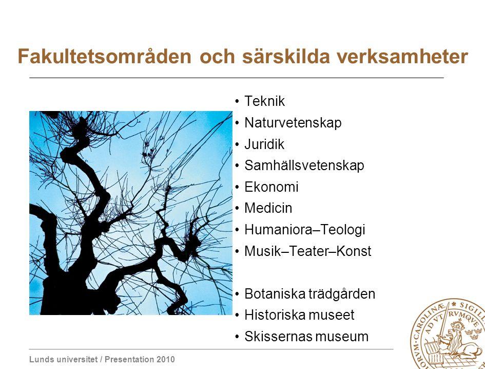 Lunds universitet / Presentation 2010 Värderingar Demokratiskt synsätt Kritiskt tänkande Akademisk integritet Etnisk och social mångfald Nolltolerans mot diskriminering Humanism Humor Kreativ akademisk miljö