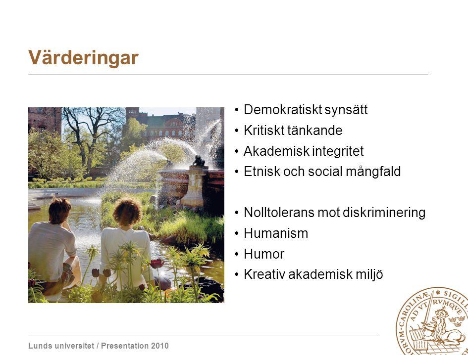 Lunds universitet / Presentation 2010 Värderingar Demokratiskt synsätt Kritiskt tänkande Akademisk integritet Etnisk och social mångfald Nolltolerans