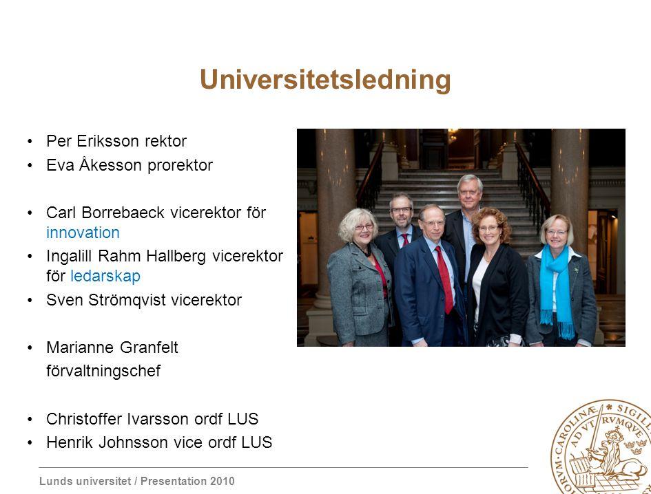 Lunds universitet / Presentation 2010 Universitetsledning Per Eriksson rektor Eva Åkesson prorektor Carl Borrebaeck vicerektor för innovation Ingalill