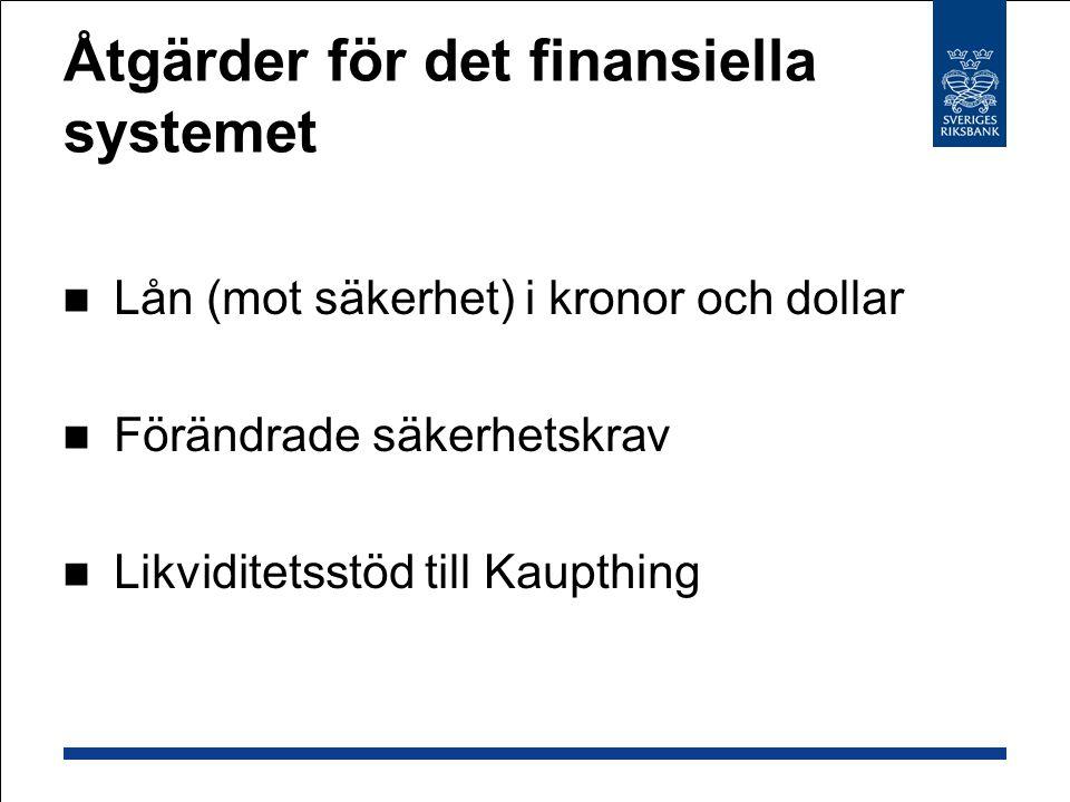Åtgärder för det finansiella systemet Lån (mot säkerhet) i kronor och dollar Förändrade säkerhetskrav Likviditetsstöd till Kaupthing