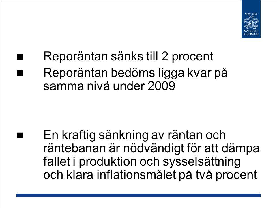 Reporäntan sänks till 2 procent Reporäntan bedöms ligga kvar på samma nivå under 2009 En kraftig sänkning av räntan och räntebanan är nödvändigt för att dämpa fallet i produktion och sysselsättning och klara inflationsmålet på två procent