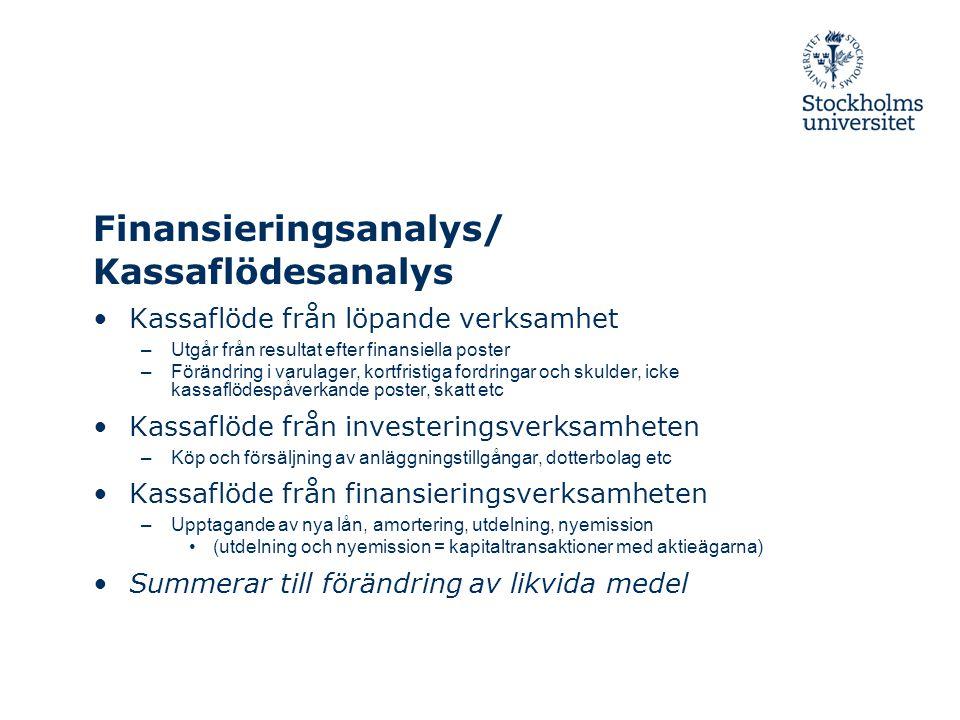 Finansieringsanalys/ Kassaflödesanalys Kassaflöde från löpande verksamhet –Utgår från resultat efter finansiella poster –Förändring i varulager, kortf