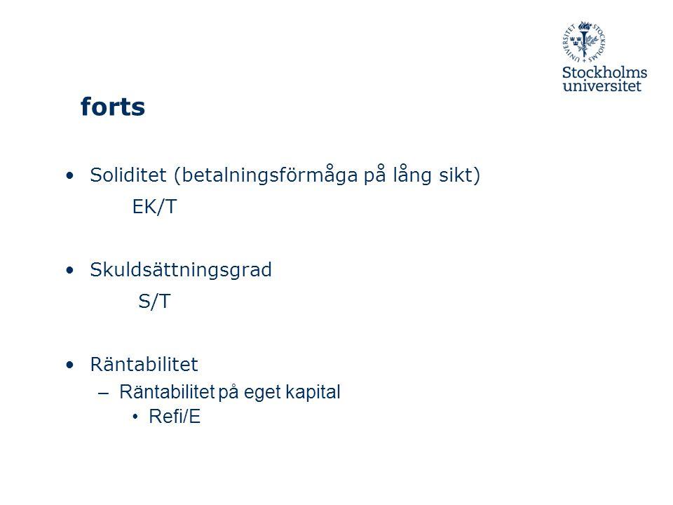 forts Soliditet (betalningsförmåga på lång sikt) EK/T Skuldsättningsgrad S/T Räntabilitet –Räntabilitet på eget kapital Refi/E