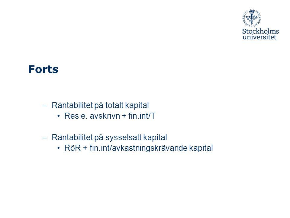 Forts –Räntabilitet på totalt kapital Res e. avskrivn + fin.int/T –Räntabilitet på sysselsatt kapital RöR + fin.int/avkastningskrävande kapital