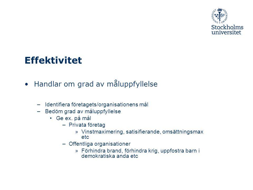 Effektivitet Handlar om grad av måluppfyllelse –Identifiera företagets/organisationens mål –Bedöm grad av måluppfyllelse Ge ex. på mål –Privata företa