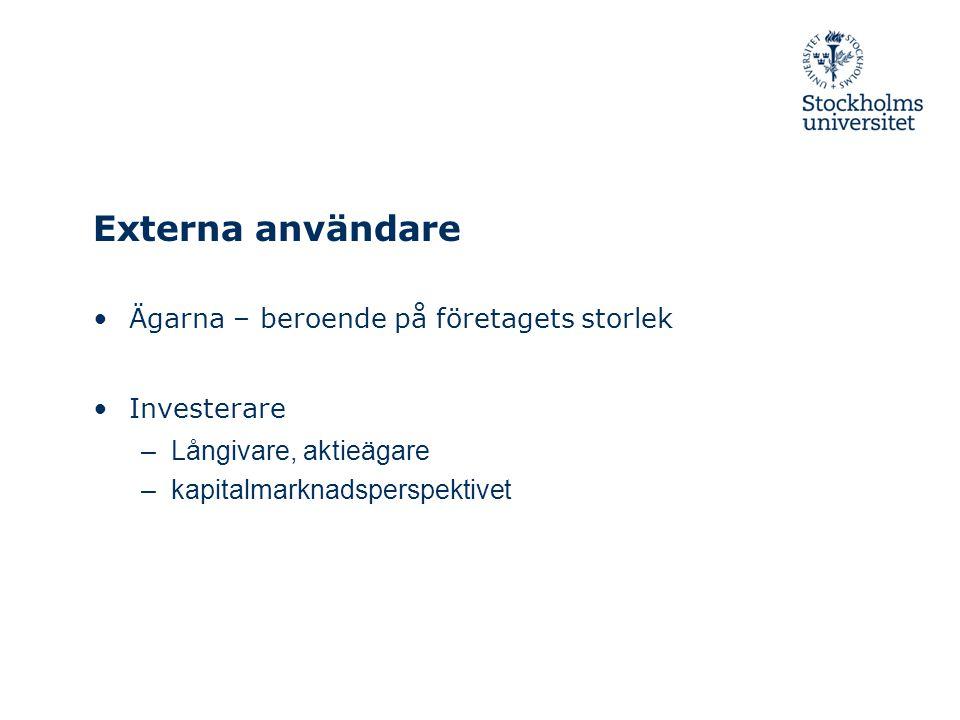 Externa användare Ägarna – beroende på företagets storlek Investerare –Långivare, aktieägare –kapitalmarknadsperspektivet