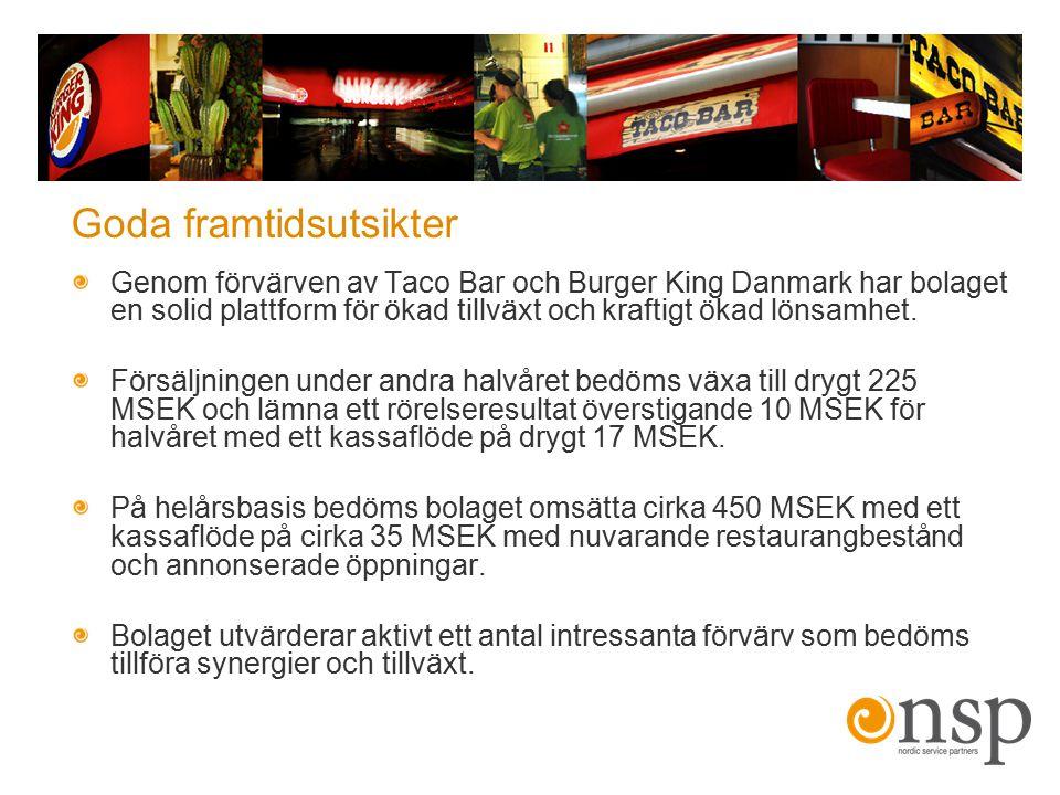 Goda framtidsutsikter Genom förvärven av Taco Bar och Burger King Danmark har bolaget en solid plattform för ökad tillväxt och kraftigt ökad lönsamhet
