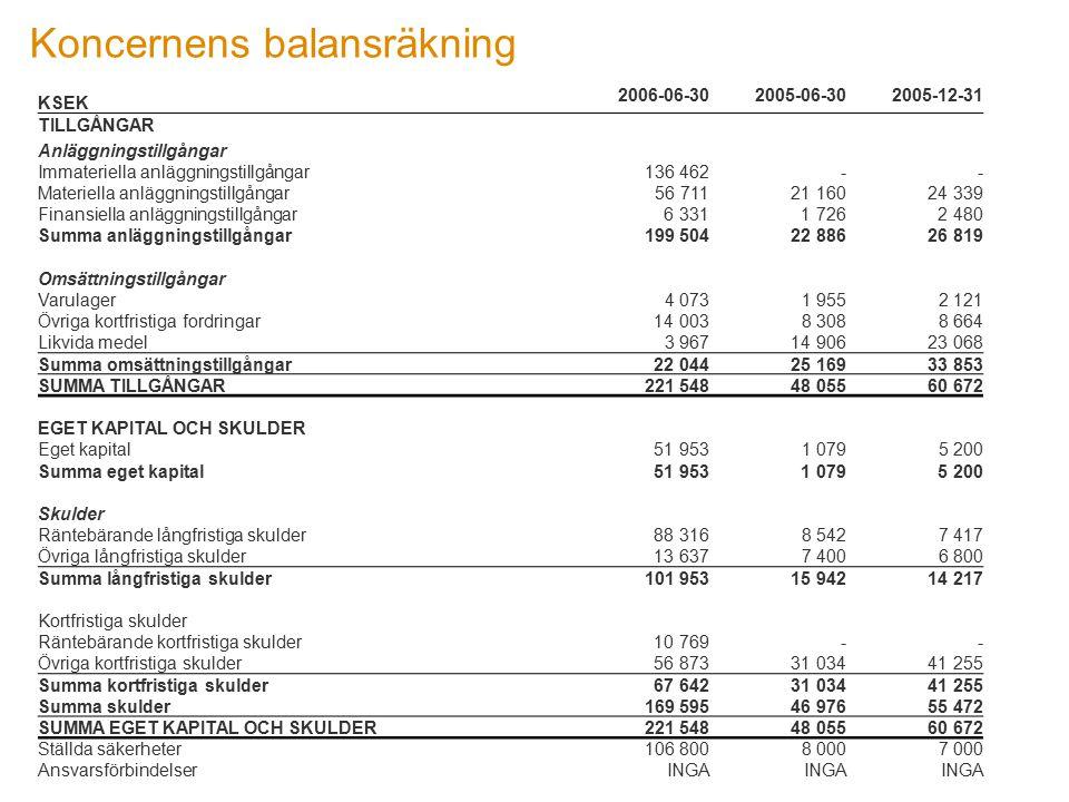 Koncernens balansräkning KSEK 2006-06-302005-06-302005-12-31 TILLGÅNGAR Anläggningstillgångar Immateriella anläggningstillgångar 136 462 - - Materiell