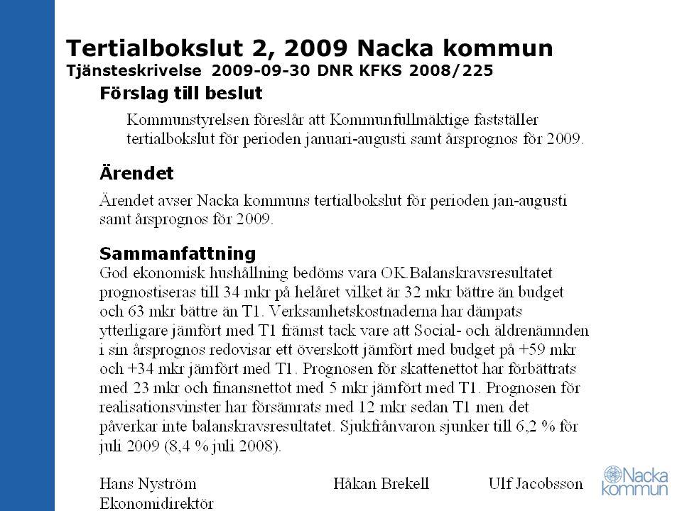 Resultaträkning T2 2009 MkrNotUtfall 2008-08 Utfall 2009-08 Periodiser ad budget 2009-08 Avvikelse mot per.