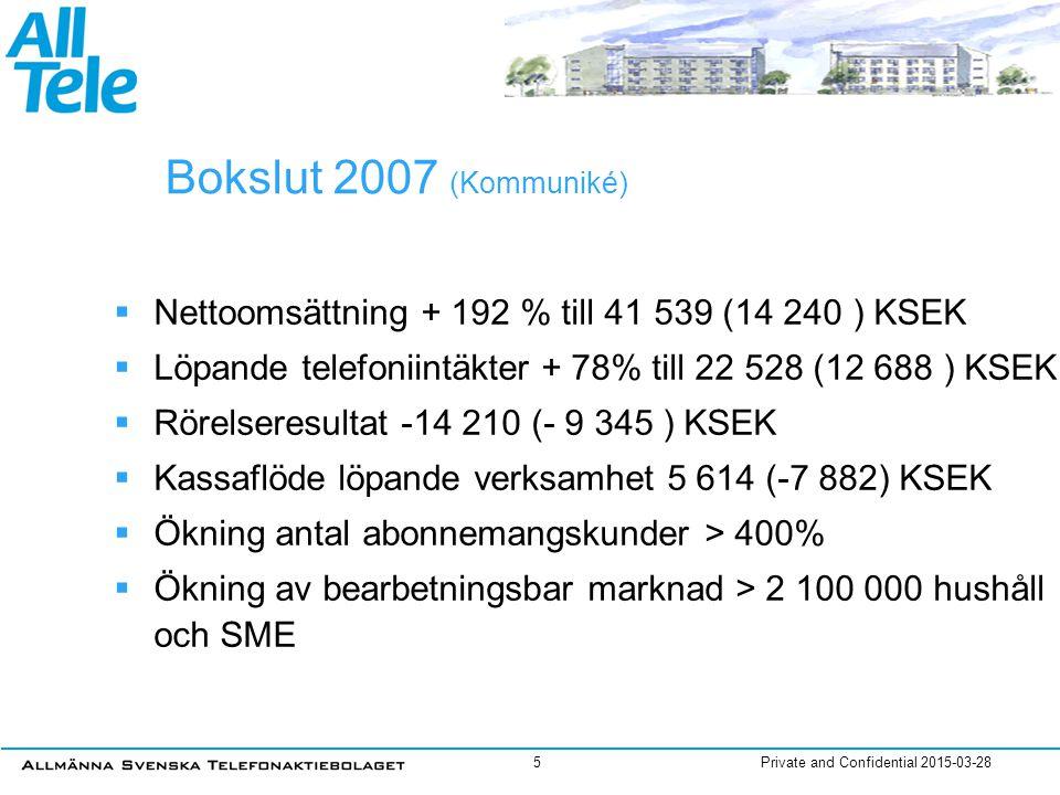 Private and Confidential 2015-03-286 Kv 4 2007  Nettoomsättning + 541 % till 26 804 (4 183) KSEK  EBITDA 1 529 (-4 071)  Rörelseresultat* -1 017 (- 4 503) KSEK  Organisk tillväxt ca 60 %  Kassaflöde från löpande verksamheten 14 391 (-3 783)  Stark fokus på migrering av förvärv * Efter omställningskostnader om 1 500 KSEK, Rörelseresultat före 483 (-4 503)