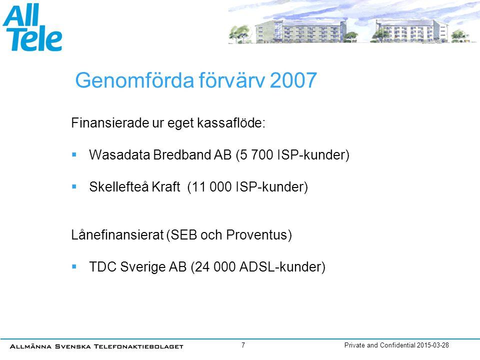 Private and Confidential 2015-03-287 Genomförda förvärv 2007 Finansierade ur eget kassaflöde:  Wasadata Bredband AB (5 700 ISP-kunder)  Skellefteå K