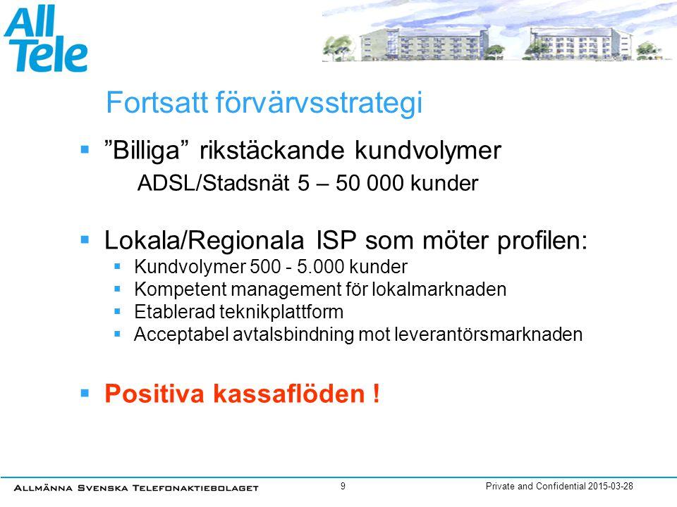 """Private and Confidential 2015-03-289 Fortsatt förvärvsstrategi  """"Billiga"""" rikstäckande kundvolymer ADSL/Stadsnät 5 – 50 000 kunder  Lokala/Regionala"""