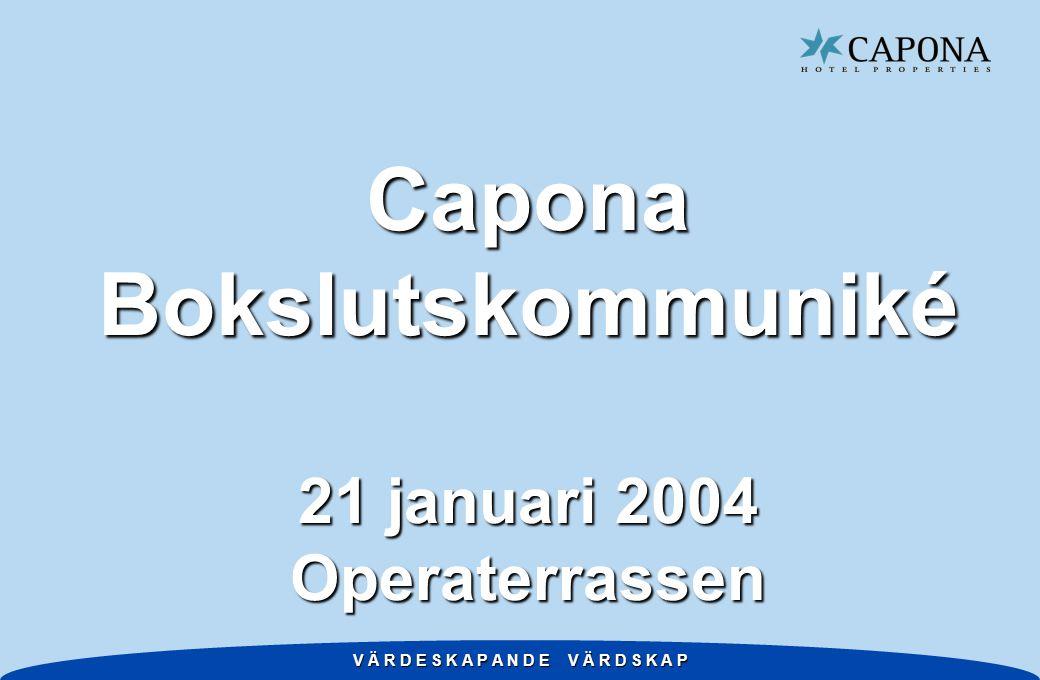 V Ä R D E S K A P A N D E V Ä R D S K A P Disposition w Ett aktivt år w Caponas hotellmarknad w Bokslutskommuniké w Home w 2004