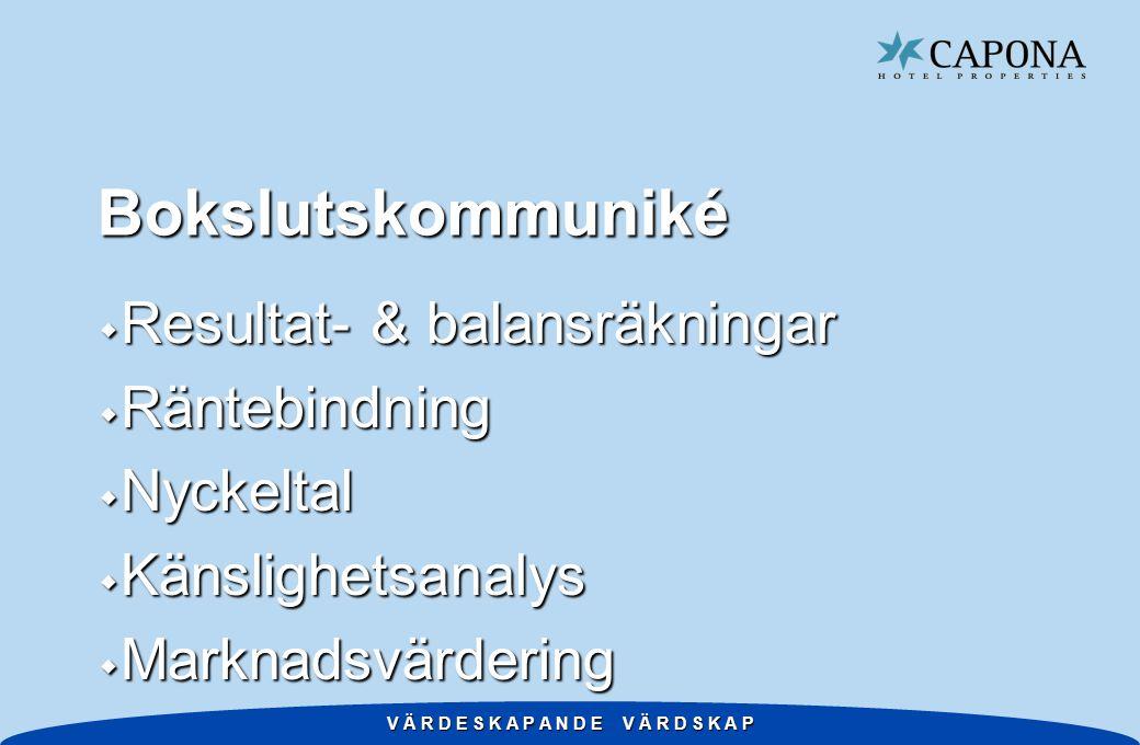 V Ä R D E S K A P A N D E V Ä R D S K A P Bokslutskommuniké w Resultat- & balansräkningar w Räntebindning w Nyckeltal w Känslighetsanalys w Marknadsvärdering