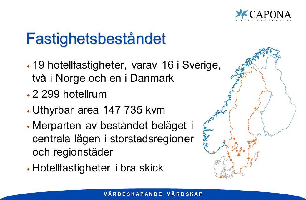 V Ä R D E S K A P A N D E V Ä R D S K A P Fastighetsbeståndet w 19 hotellfastigheter, varav 16 i Sverige, två i Norge och en i Danmark w 2 299 hotellrum w Uthyrbar area 147 735 kvm w Merparten av beståndet beläget i centrala lägen i storstadsregioner och regionstäder w Hotellfastigheter i bra skick