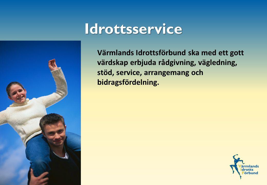 Värmlands Idrottsförbund ska med ett gott värdskap erbjuda rådgivning, vägledning, stöd, service, arrangemang och bidragsfördelning..