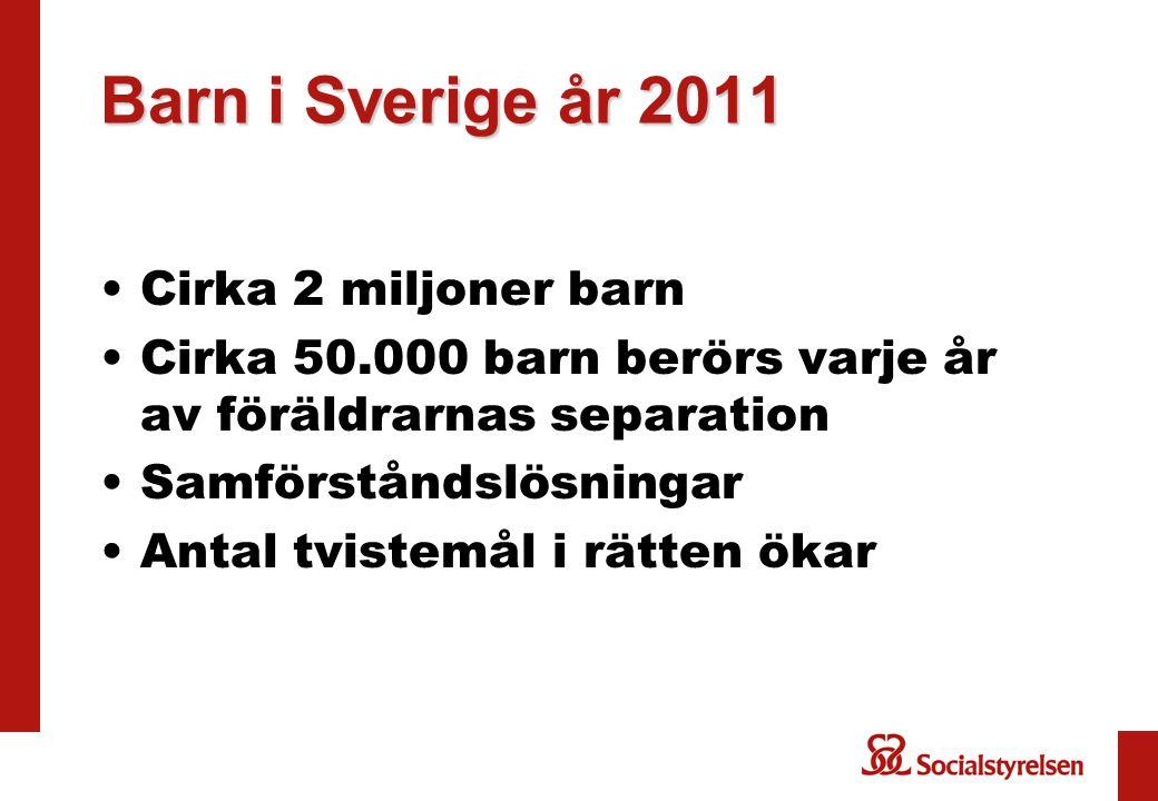 Barn i Sverige år 2011 Cirka 2 miljoner barn Cirka 50.000 barn berörs varje år av föräldrarnas separation Samförståndslösningar Antal tvistemål i rätten ökar