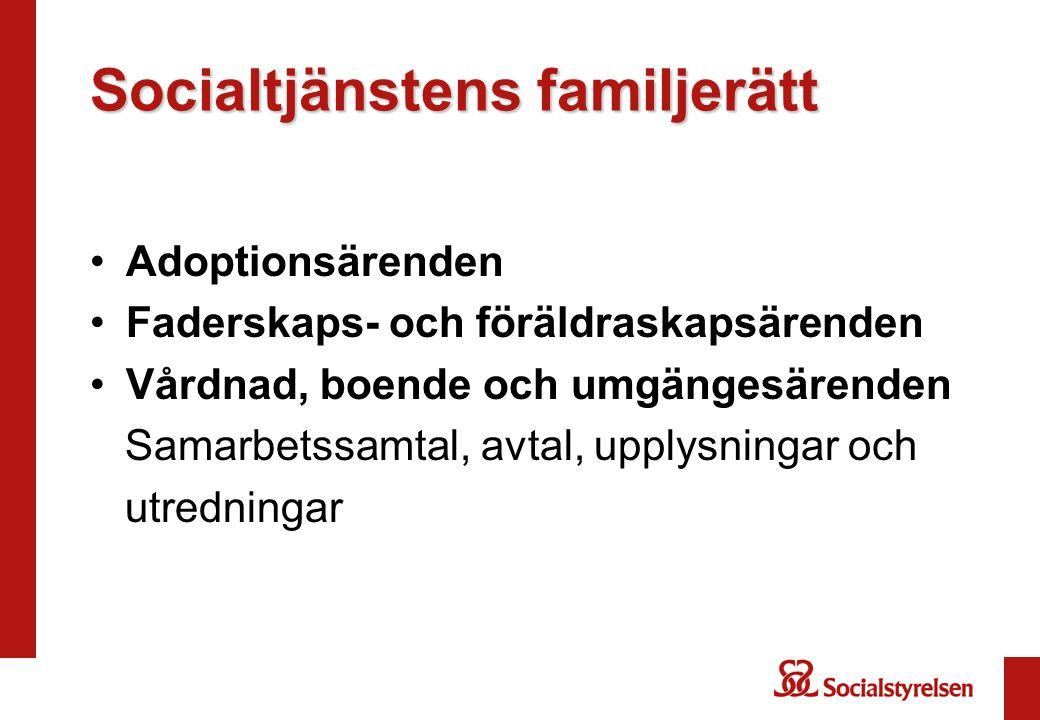 Socialtjänstens familjerätt Adoptionsärenden Faderskaps- och föräldraskapsärenden Vårdnad, boende och umgängesärenden Samarbetssamtal, avtal, upplysningar och utredningar