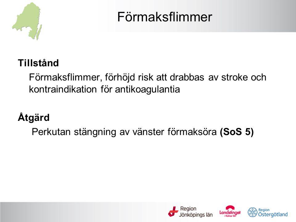 Förmaksflimmer Tillstånd Förmaksflimmer, förhöjd risk att drabbas av stroke och kontraindikation för antikoagulantia Åtgärd Perkutan stängning av väns
