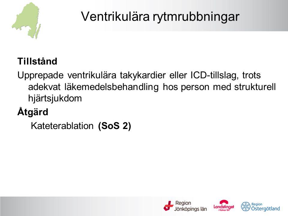 Ventrikulära rytmrubbningar Tillstånd Upprepade ventrikulära takykardier eller ICD-tillslag, trots adekvat läkemedelsbehandling hos person med struktu
