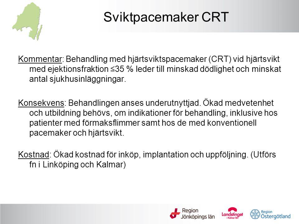 Sviktpacemaker CRT Kommentar: Behandling med hjärtsviktspacemaker (CRT) vid hjärtsvikt med ejektionsfraktion ≤35 % leder till minskad dödlighet och mi