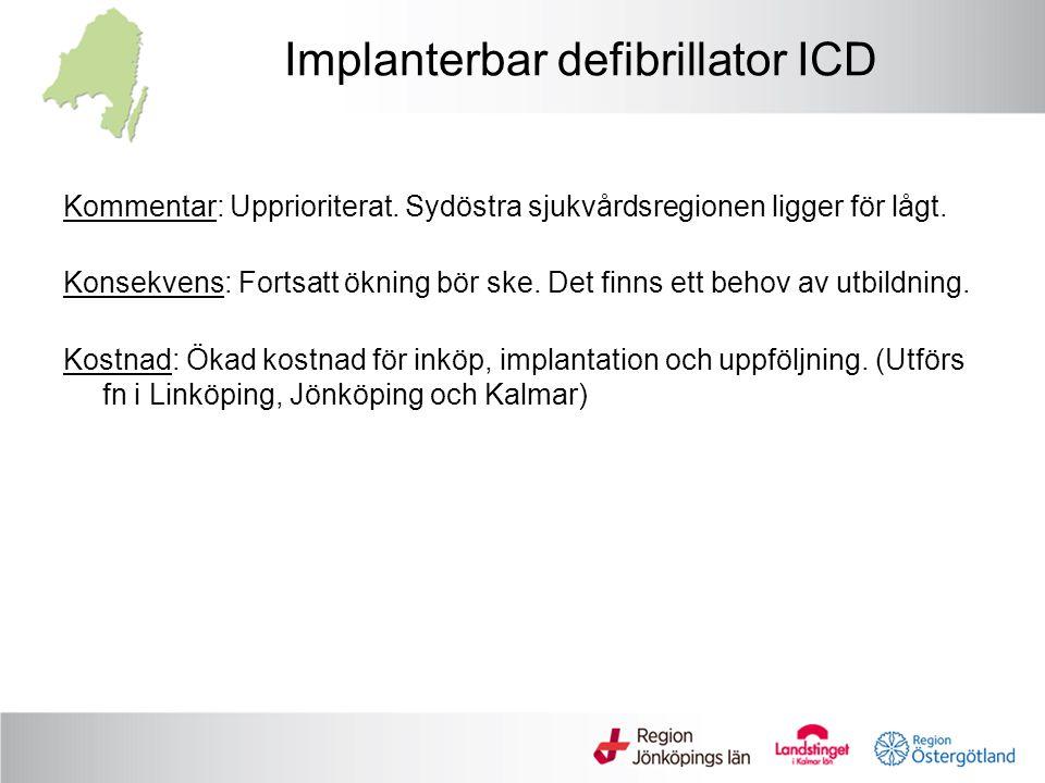 Implanterbar defibrillator ICD Kommentar: Upprioriterat. Sydöstra sjukvårdsregionen ligger för lågt. Konsekvens: Fortsatt ökning bör ske. Det finns et