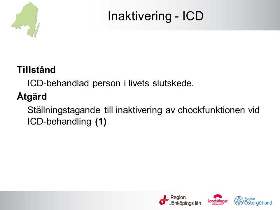 Inaktivering - ICD Tillstånd ICD-behandlad person i livets slutskede. Åtgärd Ställningstagande till inaktivering av chockfunktionen vid ICD-behandling