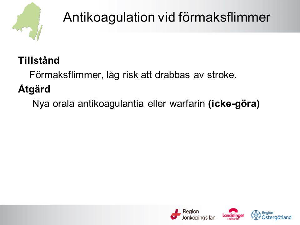 Antikoagulation vid förmaksflimmer Tillstånd Förmaksflimmer, låg risk att drabbas av stroke. Åtgärd Nya orala antikoagulantia eller warfarin (icke-gör