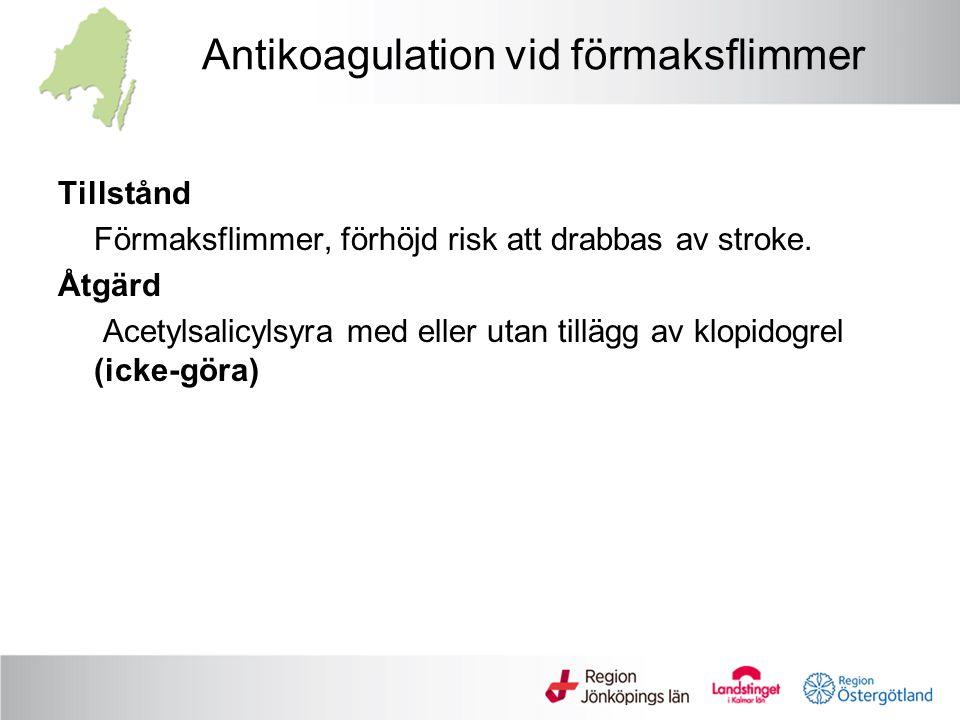 Antikoagulation vid förmaksflimmer Tillstånd Förmaksflimmer, förhöjd risk att drabbas av stroke. Åtgärd Acetylsalicylsyra med eller utan tillägg av kl