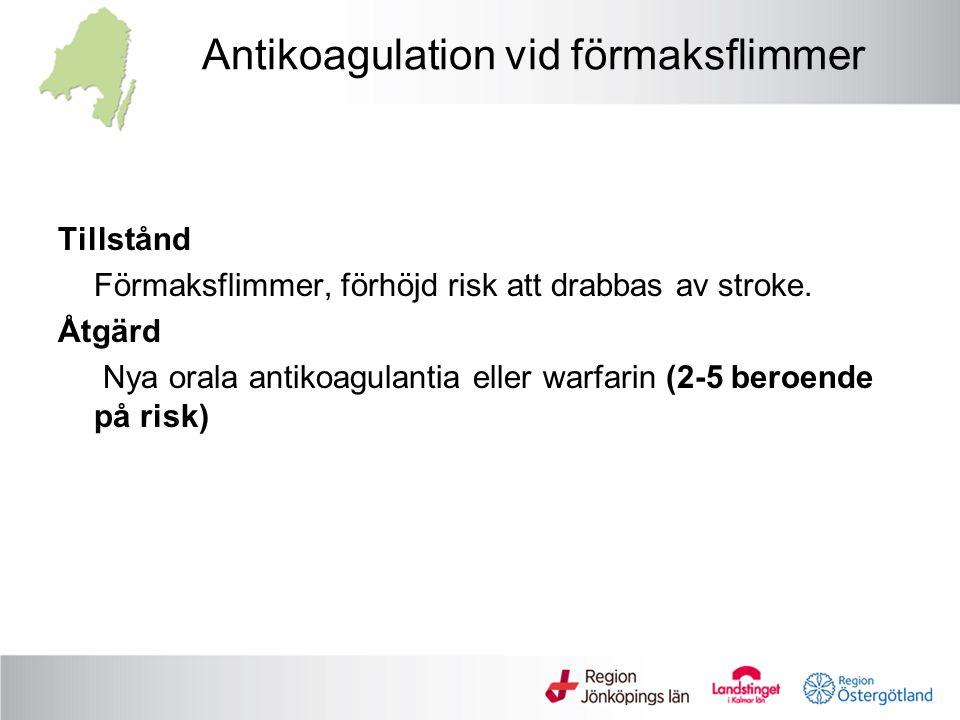 Antikoagulation vid förmaksflimmer Tillstånd Förmaksflimmer, förhöjd risk att drabbas av stroke. Åtgärd Nya orala antikoagulantia eller warfarin (2-5